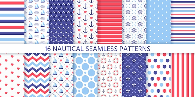 Modello senza cuciture nautico. texture geometriche marine