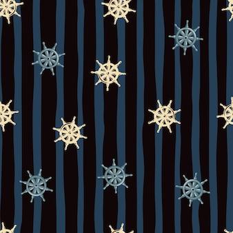 Motivo nautico senza cuciture con stampa casuale del timone della nave beige e blu. sfondo a righe nero e blu scuro.