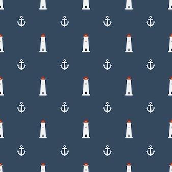Seamless motivo nautico con icona del faro su sfondo blu navy