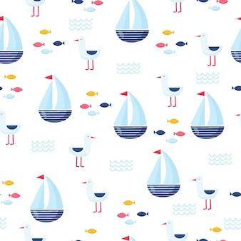 Modello di vettore senza soluzione di continuità nautica con nave. illustrazione brillante del fumetto per il design di biglietti di auguri per bambini, tessuto e carta da parati.