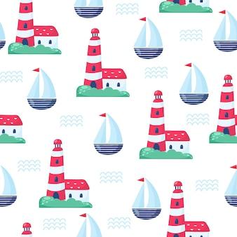 Modello nautico senza cuciture con occhiali da sole e nave. illustrazione brillante del fumetto per il design di biglietti di auguri per bambini, tessuto e carta da parati.
