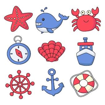 Set nautico icone in stile cartone animato. isolato su sfondo bianco.
