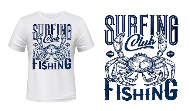 Stampa nautica t-shirt, granchio ocean surf club