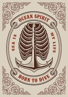 Poster vintage nautico con ancora e nervature su priorità bassa bianca