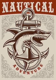 Poster vintage nautico con ancoraggio e squalo su priorità bassa bianca