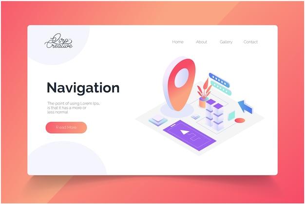 Modello di pagina di destinazione del concetto di navigazione