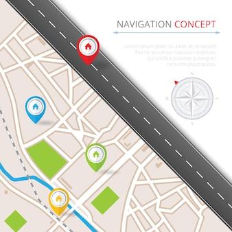 Concetto di navigazione con puntatore a spillo