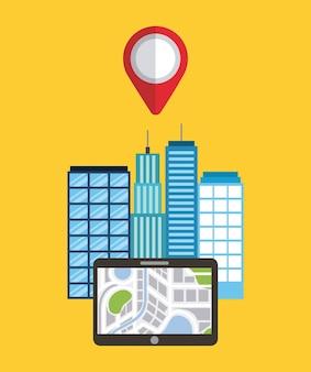 Mappa del puntatore di edifici della città app dispositivo di navigazione