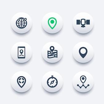 Set di icone di navigazione, indicatori di posizione, puntatori della mappa