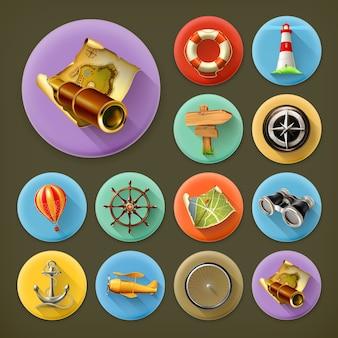 Navigazione, set di icone lunga ombra