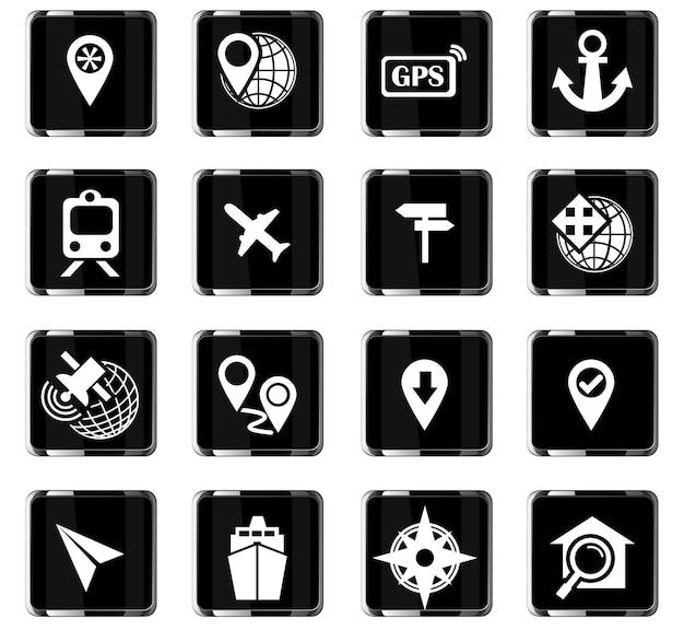 Icone vettoriali di navigazione per la progettazione dell'interfaccia utente