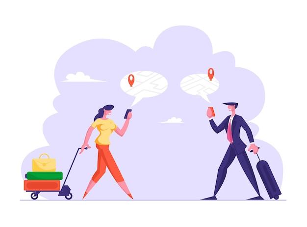 Navigazione con il concetto di app mobile uomo e donna con bagagli utilizzando la mappa online