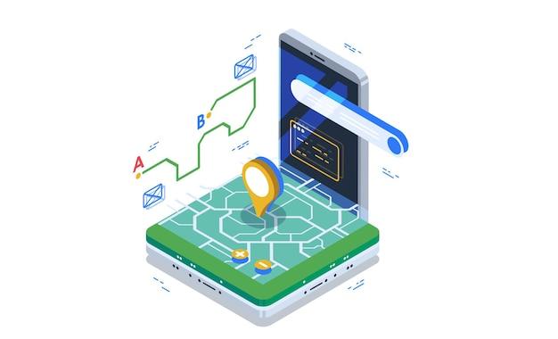 Navigatore, sistema di navigazione online. concetto di visualizzazione dei dati.