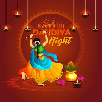 Navratri dandiya danza notte posa con sfondo