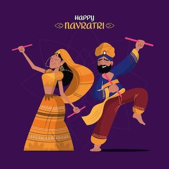 Navratri - illustrazione di ballerini dandiya