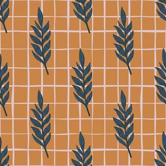 Blu navy foglie rami ornamento seamless doodle pattern.