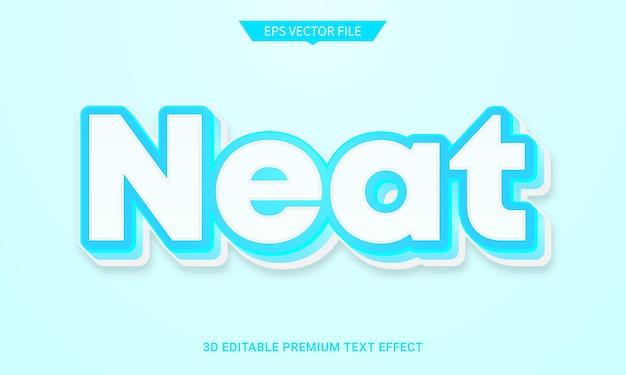 Vettore premium di effetto stile testo modificabile 3d pulito e ordinato