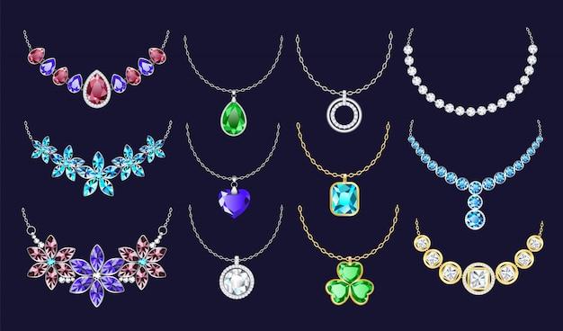 Set di icone di collana, stile realistico