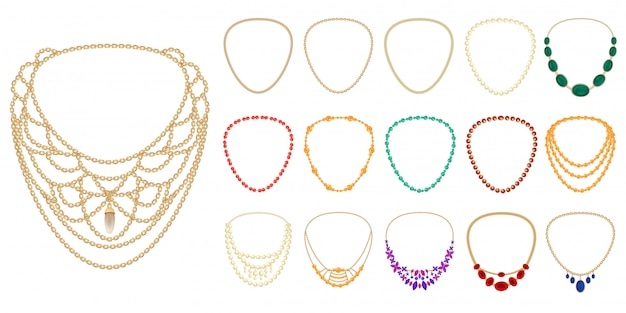 Set di icone di collana