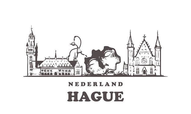Nederlands, architettura disegnata a mano dell'aia
