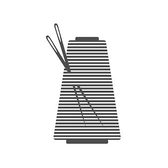 Ago e rocchetto silhouette icona illustrazione vettoriale sagoma nera della bobina con contorno dell'ago e