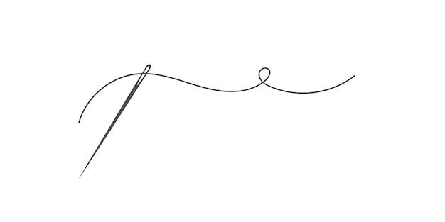 Ago e filo silhouette icona illustrazione vettoriale logo su misura con simbolo dell'ago e curvy