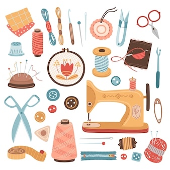 Strumenti di ricamo. hobby artigianale, cucire forniture per ricamo a maglia. filo, gomitolo di lana e forbici, illustrazione vettoriale della macchina da cucire. ricamo e cucito, attrezzatura per hobby artigianale