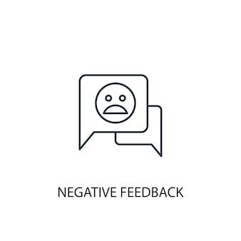 Icona della linea del concetto di feedback negativo. illustrazione semplice dell'elemento. disegno di simbolo di contorno del concetto di feedback negativo. può essere utilizzato per ui/ux mobile e web