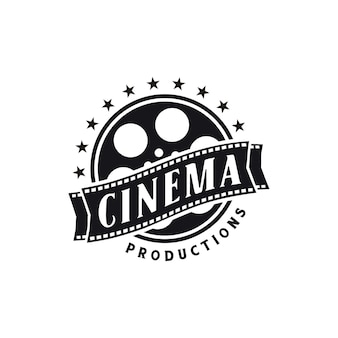 Strisce di bobina di pellicola negativa, nastri di bobina di pellicola, design del logo di produzione di studi video cinematografici