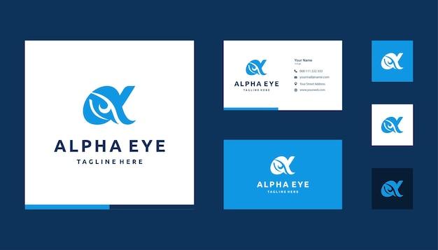 Spazio alfa negativo con ispirazione per il design del logo dell'occhio