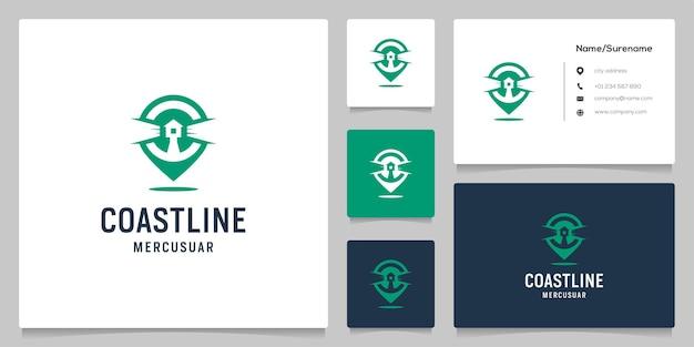 Spazio negativo faro e logo design pin point con biglietto da visita Vettore Premium