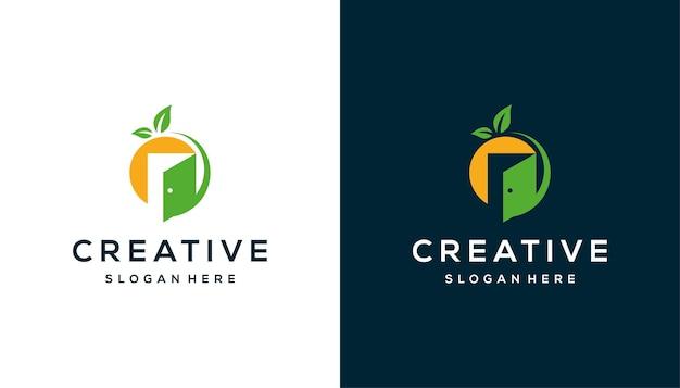 Spazio negativo arancio con porta ispirazione per il design del logo