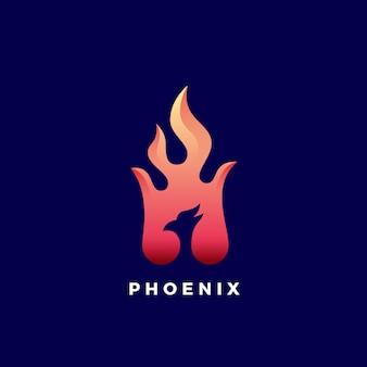 Spazio negativo phoenix flame abstract sign, simbolo o logo template. sfumature di colore vibranti.