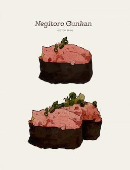 Negitoro gunkan, sushi al tonno tritato. mano disegnare schizzo vettoriale. cibo giapponese