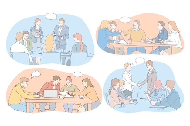 Negoziati, brainstorming, lavoro di squadra, cooperazione, affari, sviluppo, concetto di successo.