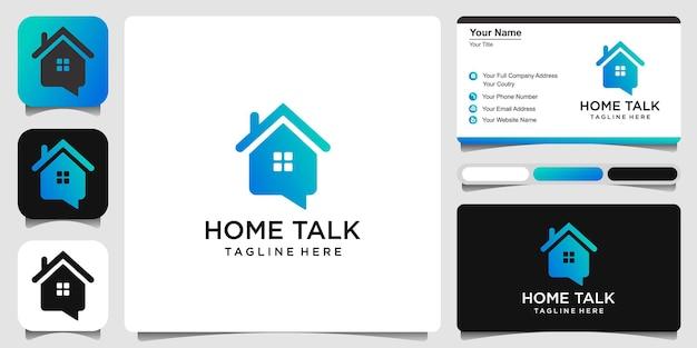 Neighbour group chat house talk logo design template