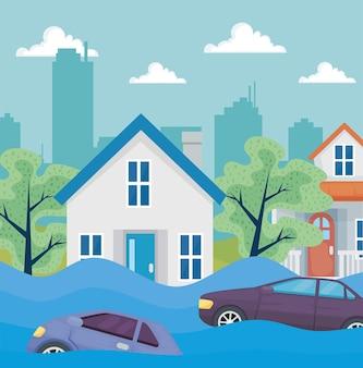 Scena di inondazione del quartiere