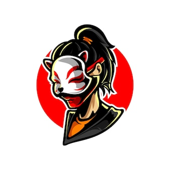 Logo della mascotte della ragazza della maschera di neko