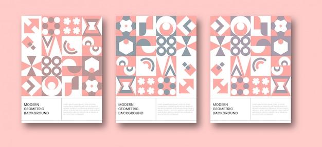 Modello di poster di sfondo geometrico neo bauhaus