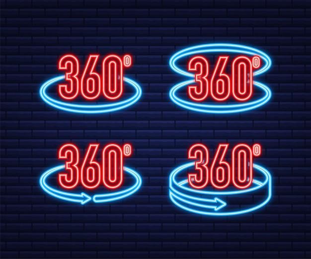 Neon l'icona dell'angolo a 360 gradi. simbolo matematico geometrico. rotazione completa