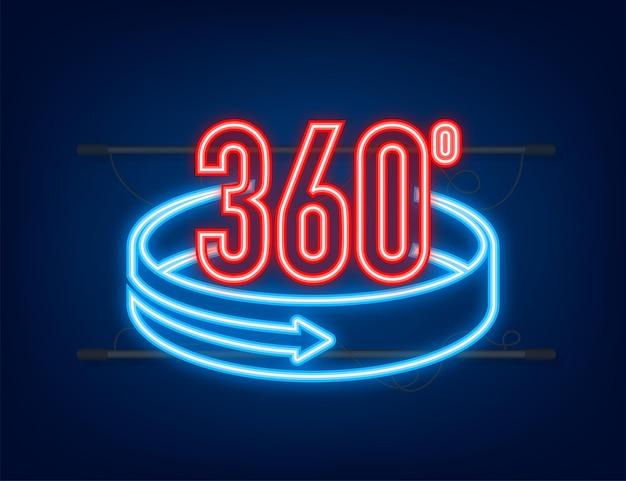 Neon l'icona dell'angolo a 360 gradi. simbolo matematico geometrico. rotazione completa.