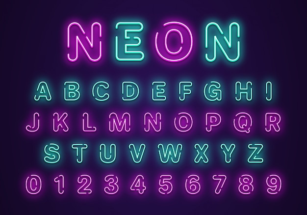 Set di numeri e alfabeto al neon