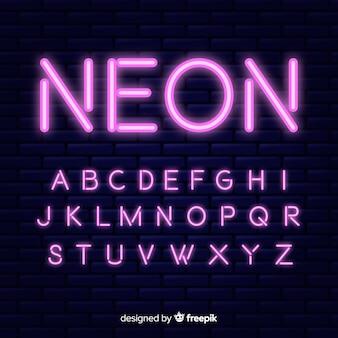 Design piatto modello di alfabeto al neon