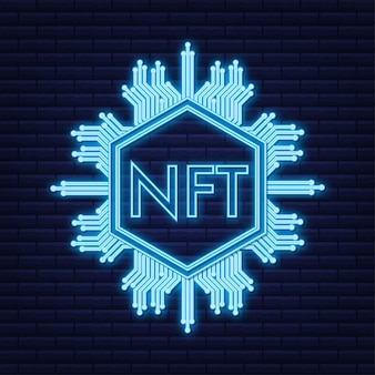 Modello di arte al neon con nft per il design di sfondo del gioco concetto di finanza di valuta crypto