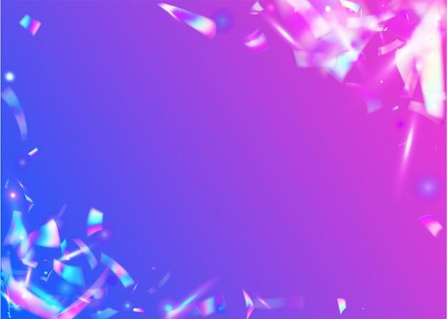 Sfondo al neon. arte di cristallo. glitter iridescenti. modello astratto retrò. lamina glitterata. coriandoli olografici. struttura viola della discoteca. striscione laser. sfondo al neon viola