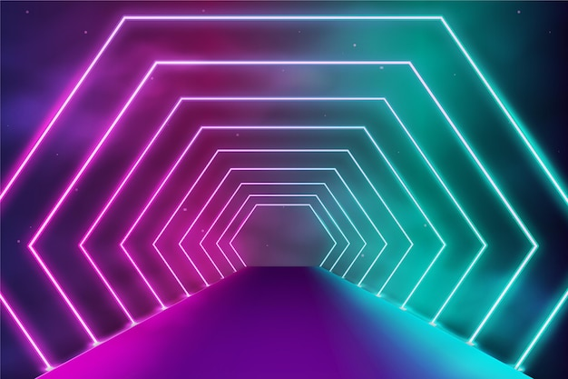 Sfondo al neon con forme geometriche