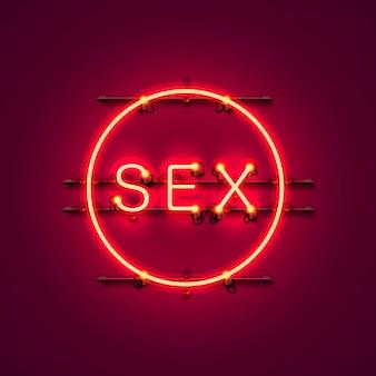 Testo del sesso dell'insegna al neon sullo sfondo rosso, illustrazione vettoriale