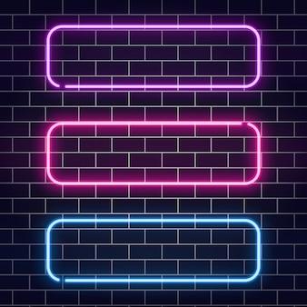 Set di banner al neon. cornici al neon di colore sul muro di mattoni