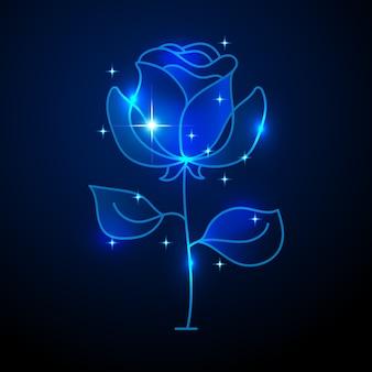Illustrazione al neon della rosa di simbolo della barra adatta a stampa della cartolina d'auguri, del manifesto o della maglietta.