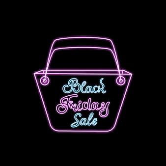 Cestino al neon per lo shopping. testo disegnato a mano del black friday. modello di progettazione per sconti, voucher, vendite stagionali pubblicitarie